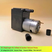 2PCS 12 24 V Volt Mini Brush DC Diaphragm Air Inflate&Suction Vacuum Pump Vacuum 75Kpa orion vacuum pump krx3 p v 03