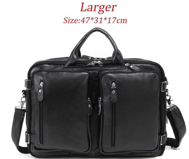 New Natural Cowskin 100 Genuine Leather Men s multifunctional Briefcase Large Capacity Business Shoulder bag 17 Laptop Bag