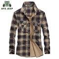 AFS JEEP 2016 de Los Hombres de la tela escocesa de la moda de primavera estilo casual de marca a largo hombre camisa de manga otoño 100% camisas de algodón puro rejilla verde B610