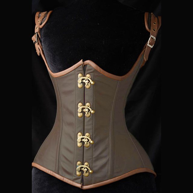 gothic bustier corset Plus size XXL Sexy Black Brocade Corset with Brown Leather Steampunk Shaper Underbust corselet S5337