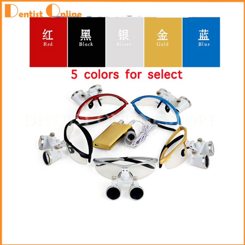 3.5X420mm Dental Surgical Loupe Magnifier, Binocular Magnifier with LED Head Light Lamp 5 colors Dental Loupes dental oral surgery led lamp plastic big lamp none the shadow led cool light lamp circle lamp dental materials sl1005