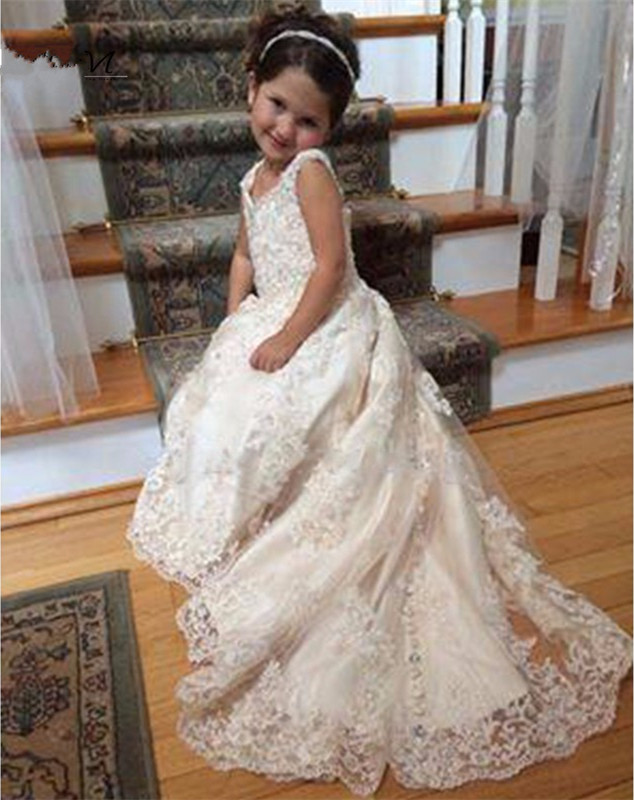 2017 New White Lace Flower Girls Dresses With Train