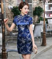 6XL For Women Traditional Chinese Classic Women's Dresses 2018 Summer Satin Mini Qipao Sexy Vintage Cheongsam Red Flower Dress