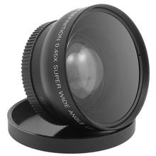 цена на 52Mm Digital 0.45X Super Wide Angle Fisheye Lens Macro With Uv Lens For Canon Nikon D5300 D5200 D5100 D5000 D3300 D3200 D3000