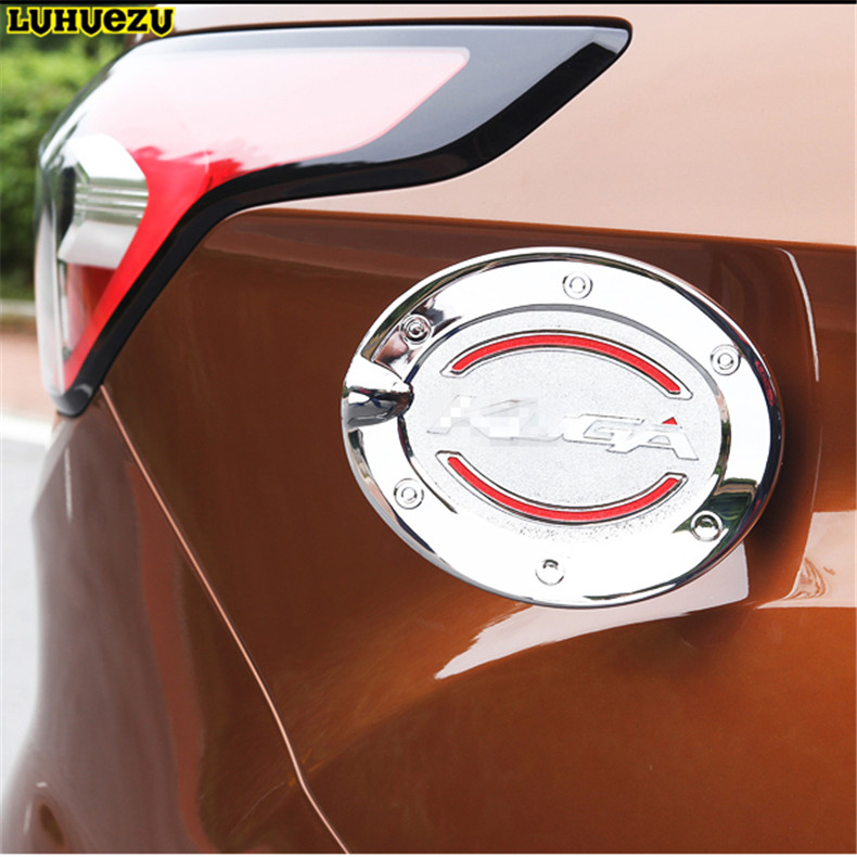 Luhuezu Chromed Fuel Tank Cover Gas Cover For Ford Kuga Escape Accessories 2013 2014 2015 2016 2017 xyivyg for ford kuga escape 2013 2014 2015 chrome side rearview mirrors cover trim 2pcs