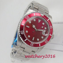 Luxury Brand 40mm Red Sterile Dial Sapphire Glass no logo mens Watch Date Deployment Hot Automatic movement Wristwatch