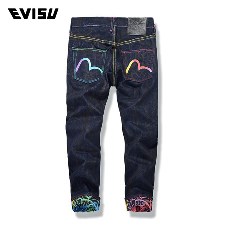 6b88b0121dff Evisu 2018 Men hipster jeans Casual Fashion Trousers Zipper Men Pockets  Jeans Straight Long Classic Blue
