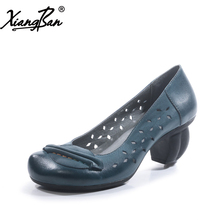 Xiangban Spring Women Shoes Pointed High Heels Genuine Leather Pumps Blue Handmade Countryside Style