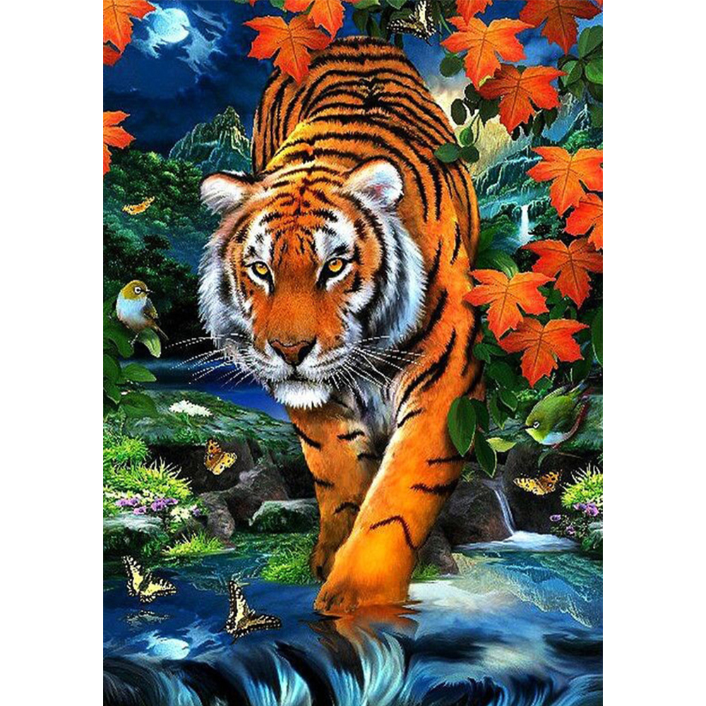 5D DIY diamond painting tiger round diamond mosaic embroidery diamond embroidery animal home decoration YZ279 in Diamond Painting Cross Stitch from Home Garden