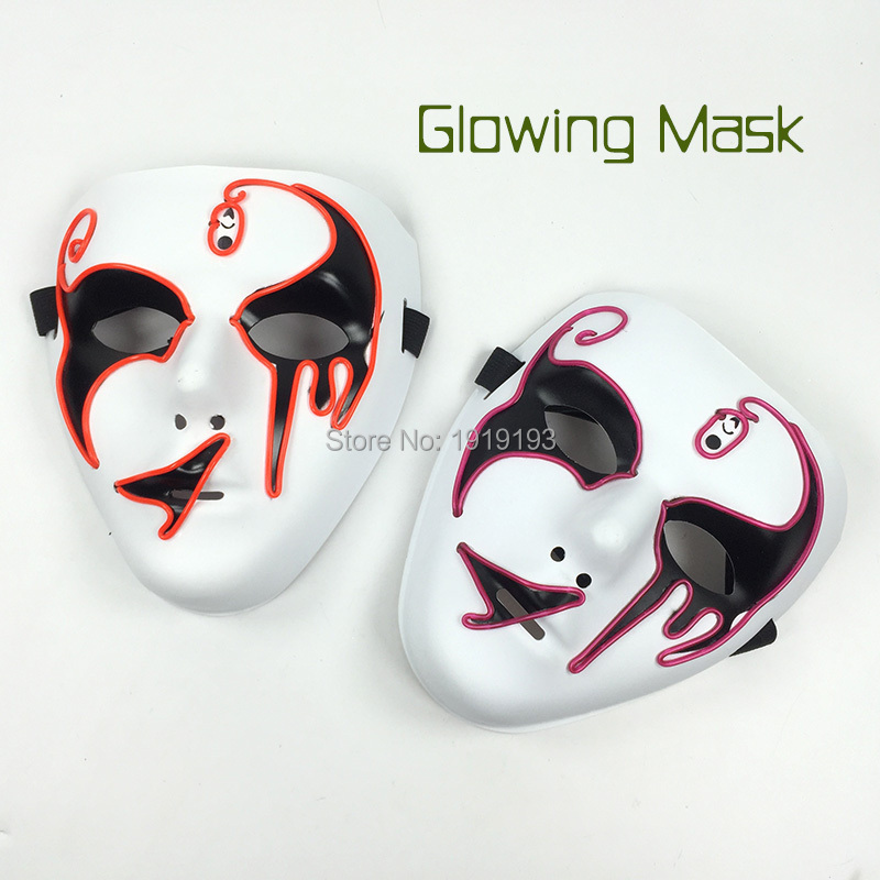 New Design Gathering Party Props Sparkling EL Wire Death Grimace Mask Holiday Lights Light Up Shuffle Role Play Mask for Disco