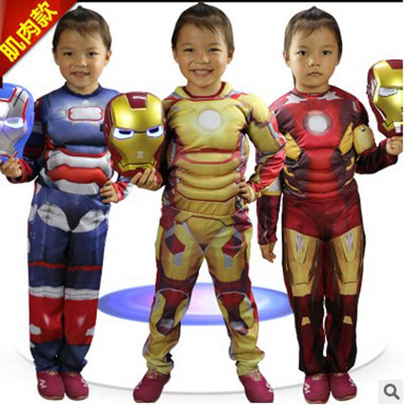 New 3 Colors Iron Man The Avengers Cosplay Halloween Costumes for Children Fantasia Disfraces Christmas Masquerade Purim dress