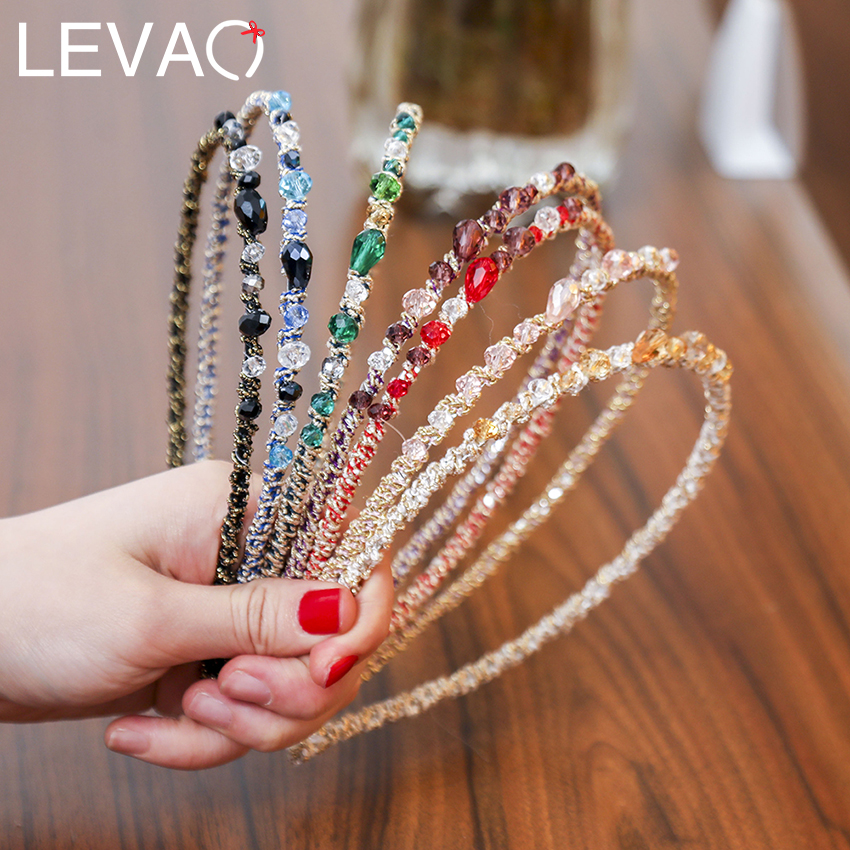 Levao Women Candy Color Crystal Stone Hairband Head Band For Girls Headwear Rhinestone Hair Hoop Bezel Headband Headpieces