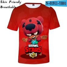 Brawl Stars 3D T Shirt Kids Breathable Tees Summer T-Shirts 3D Printed Skin Friendly Men Tshirt Summer 3D T-Shirt Mobile Game t 3d mini