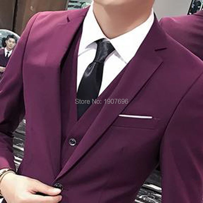 Slim Fit Purple Man Suits Three Piece Wedding Party Bridegroom Tuxedo Notched Lapel Jacket Blazer Pants Vest in Suits from Men 39 s Clothing