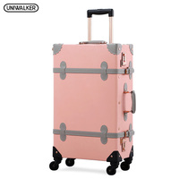 UNIWALKER Women Crystal Pink Vintage PU Leather Suitcase Travel Trolley Beautiful Rolling Luggage with Spinner Wheels Metal Rod