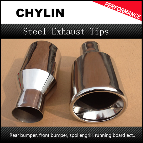2pcs ID 54mm OD 101mm Car Stainless Steel Chrome Round Tail Muffler Tip Pipe font b