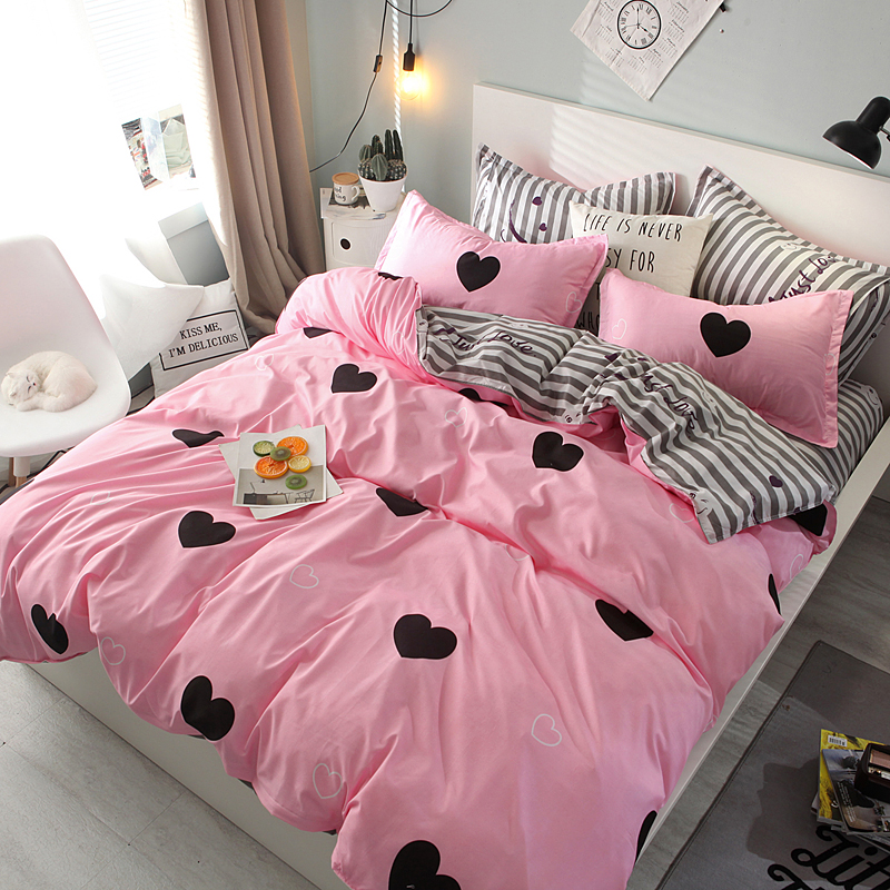 BEST.WENSD Double Pink love Korean style bedding-Wedding bedclothes flat bedspread King Queen size bedcover set for girls womanBEST.WENSD Double Pink love Korean style bedding-Wedding bedclothes flat bedspread King Queen size bedcover set for girls woman