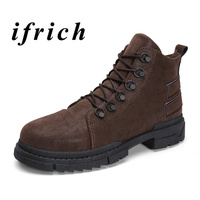 Men Boots Brown Black Youth Fashion Mens Shoes Anti Slip Winter Male Boots With Fur Hard Wearing Wearable Work Boots Men