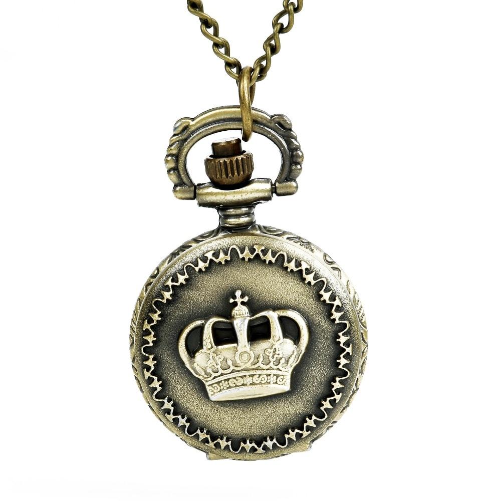 Pocet Watch Bronze Retro Crown Honorable Royal Crown Pattern Pocket Watch Necklace Unisex Nurse Watch Horloge