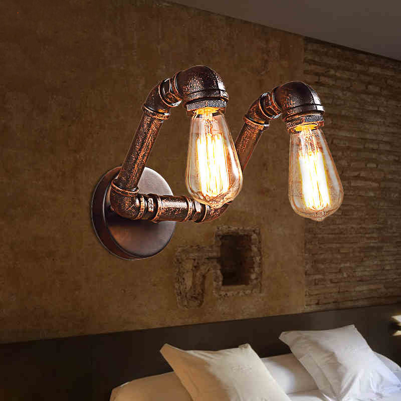 Фотография Wall Lights Vintage E27 Plated Loft Iron Wall Lamp Retro Industrial Bathroom Stair Antique Lamp Luminaria water pipe new hot