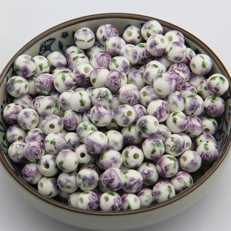 10-30 Pcs/lot 8mm Handmade Ceramic Loose Beads Multi Color Flower Painting Round Beads for Jewelry Making Findings Components