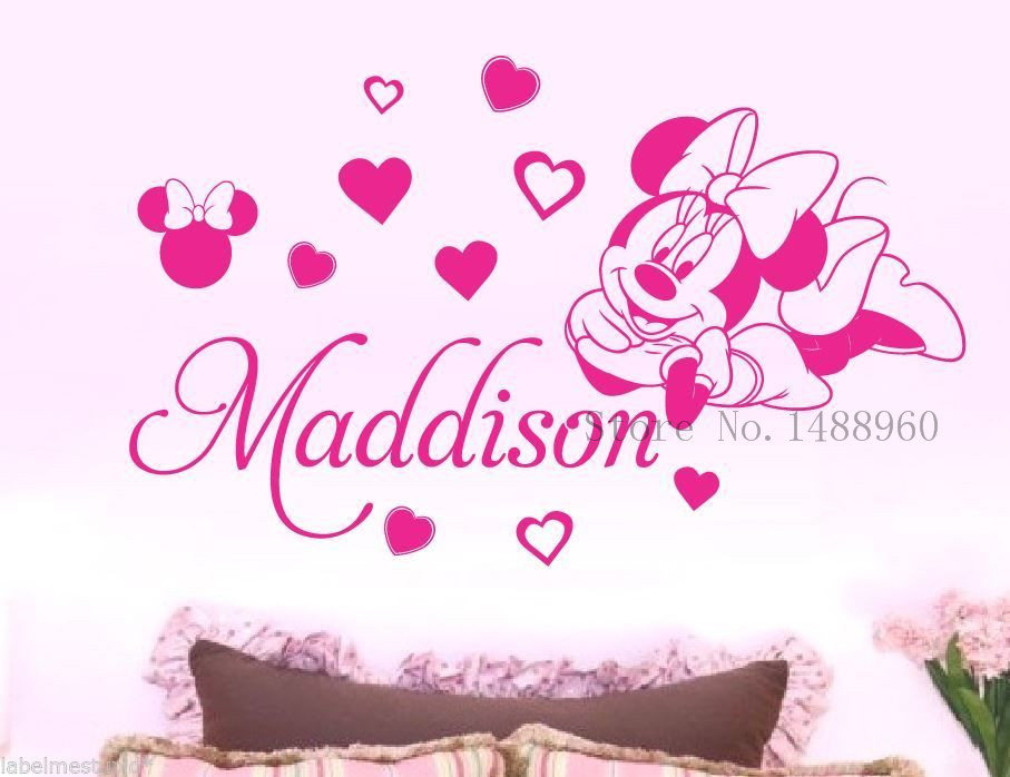 E133 Minnie Mouse Vinyl Wall Stickers for kids room decor Removable wall  decal For Baby Girls