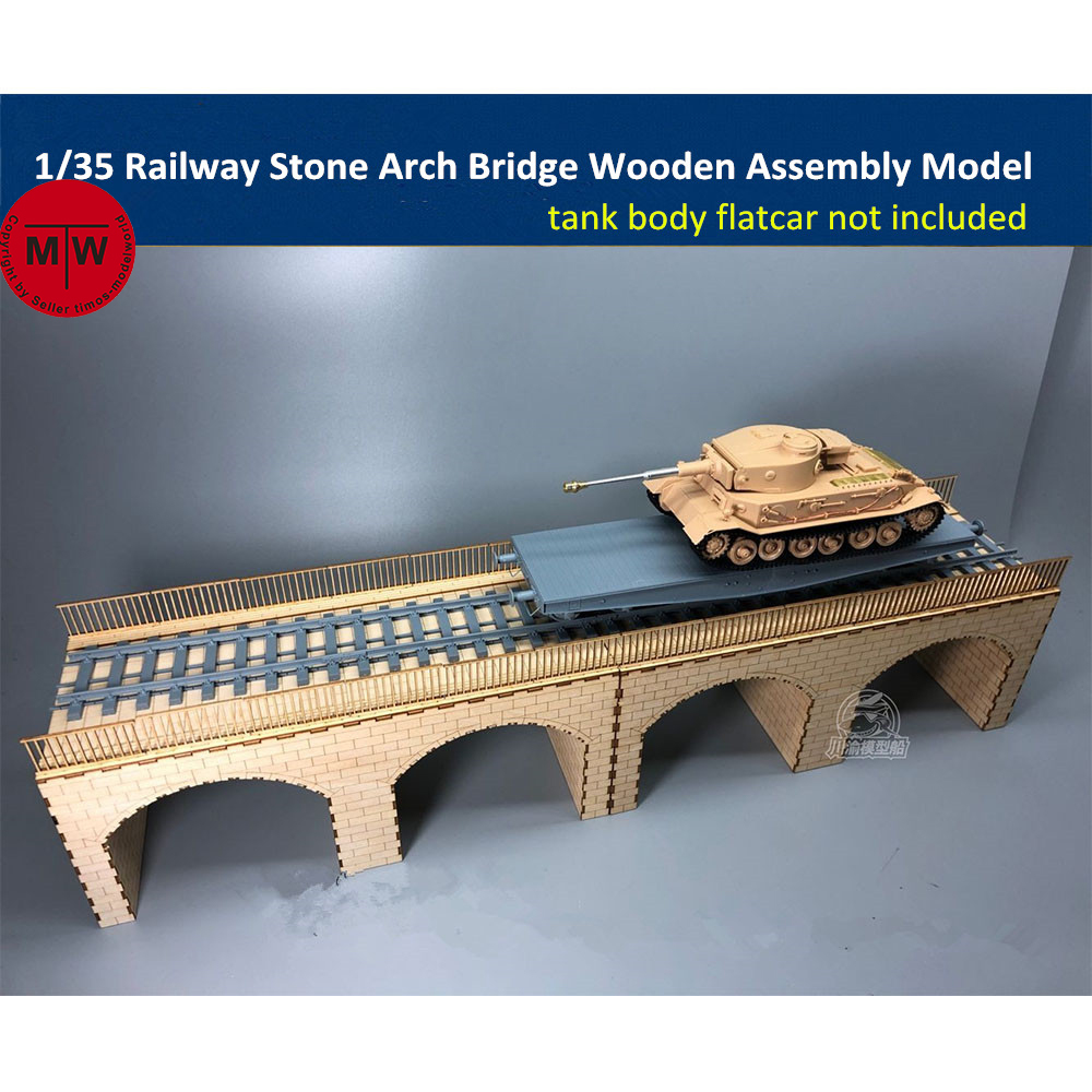 <font><b>1/35</b></font> Scale Railway Stone Arch Bridge Diorama Wooden Assembly <font><b>Model</b></font> <font><b>Kit</b></font> TMW00012 image
