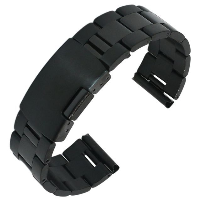356efe48441 20 22 24mm Man Lady Black Fashion Meia Polonês Escovado sólido Aço  Inoxidável Pulseira Watch Band