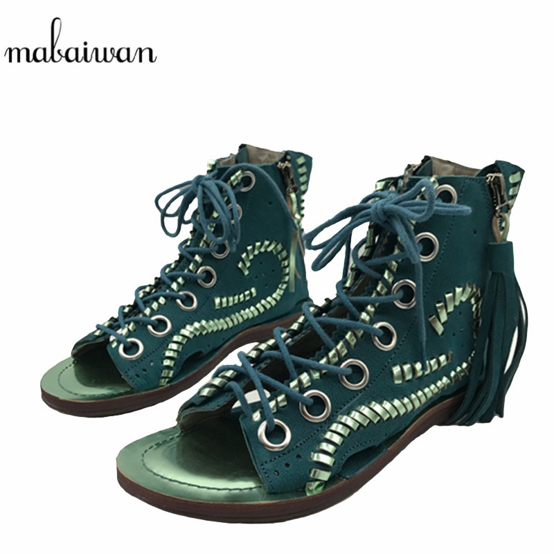 Mabaiwan Hollow Out Women Genuine Leather Sandals Peep Toe Summer Boots Casual Flat Shoes Woman Fringed Gladiator Sandal Flats new 2017 summer flat sandals sexy pointed toe designer side buckle sandals woman shoes tide brand woman sandals hollow flats