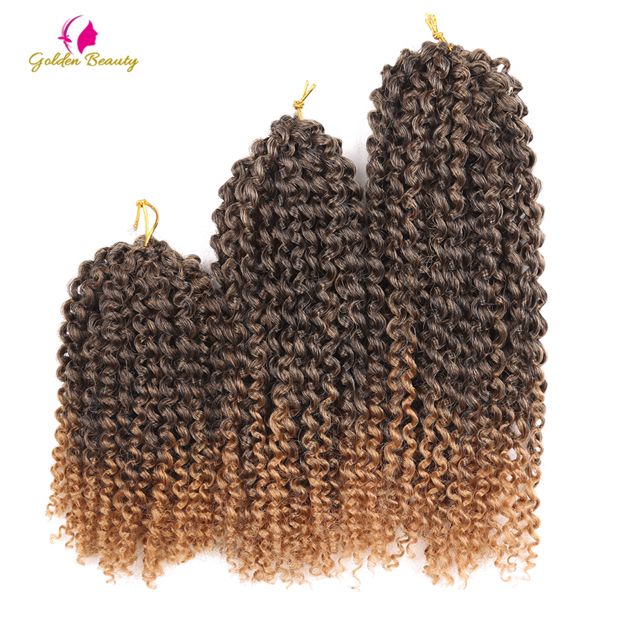 Golden Beauty 8-12inch Crochet Braids Curly Synthetic Braiding Hair Ombre Crochet Hair Extensions Kinky Twist 60 Strands/pack