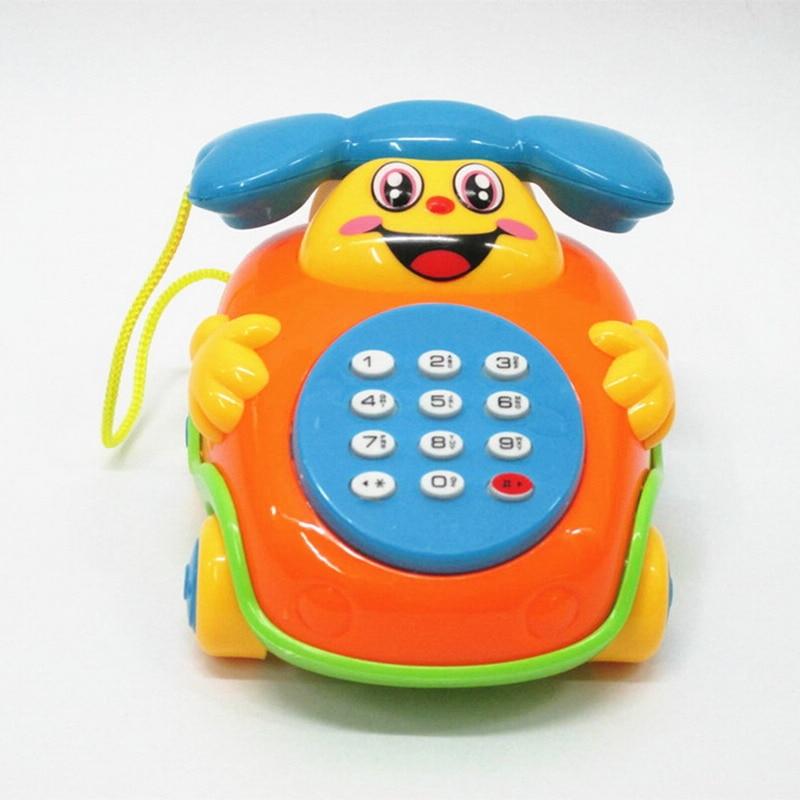Funny Baby Children Educational Toys Music Cartoon Phone Developmental Kids Gift Toy Pull Rope Phone Music Cartoon Phone
