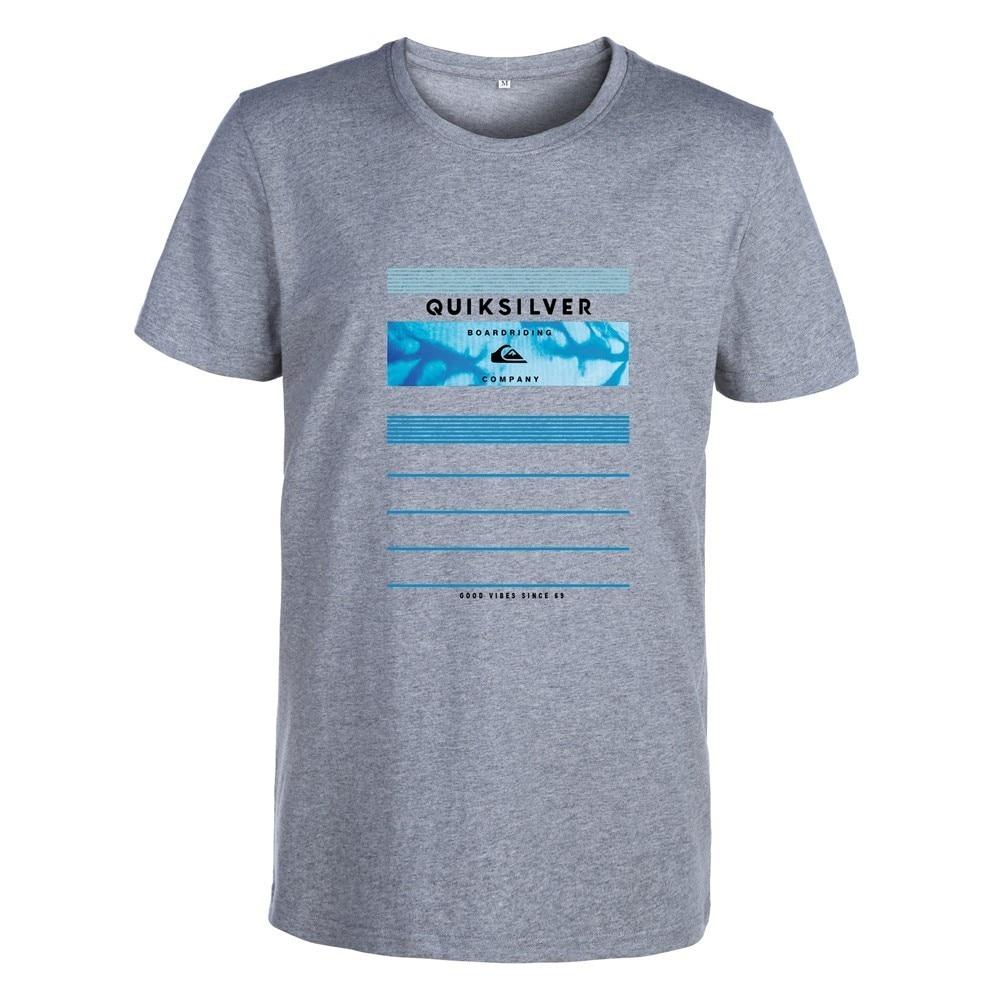 2019 New Brand Quik   T     Shirt   Mens 100% Cotton Casual   T  -  shirts   Summer Skateboard Tee Boy Skate Tshirt Tops silver