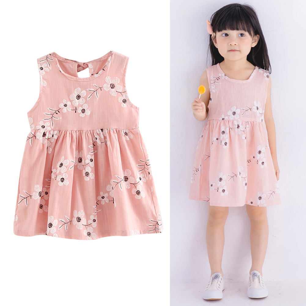 893c19590230 Soft Casual Sleeveless Girls Summer Dress Cute Morning Glory Printed Cotton  Linen Dress Clothing for 2-9 Years Girls