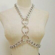Women Punk Chain Harness Handmade Body woman Bondage Sexy Bra Chest Bra Chain choker necklace O ring torques cross halt