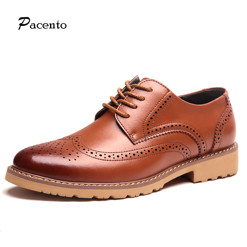 PACENTO 2017 Men Shoes British Style Carved High Quality Leather Casual Brogue Shoes Lace-Up Bullock Mens Shoe Chaussure Homme tidog british style leather shoes men shoes toe shoes bullock carved layer of leather casual shoes