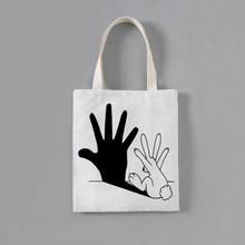 Customized Solid Corduroy Shoulder Bags Kawaii rabbit printing Tote Package Purses Casual Handbag shopping bag For young girl(China)
