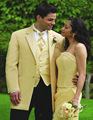 2017Tailor Made Suit Light Yellow Groom Tuxedos Two Buttons Best Man Groomsman Men Wedding Suits Bridegroom (Jacket+Pants+Vest)