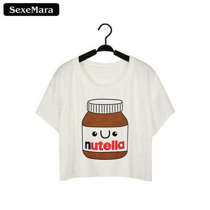 SexeMara New Design Delicious Nutella Harajuku T-shirts Harajuku Short Sleeve Crop Tops Summer O-Neck T shirt Women Clothes F964