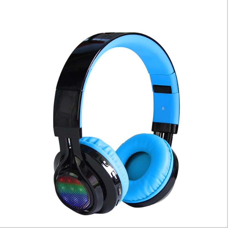 LED Foldable Wireless Bluetooth Headphone with Microphone Metal Heavy Bass Magnet Headset Noise Cancelling Stereo Earphones