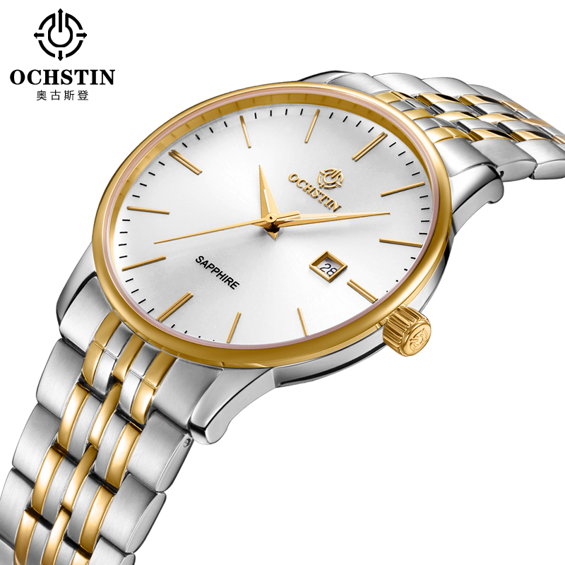 Ochstin Mens Watches Top Brand Luxury Calendar Display Ladies Quartz Watch Male Clock Women Steel Band Wrist Relogio Masculino A women men quartz silver watches onlyou brand luxury ladies dress watch steel wristwatches male female watch date clock 8877