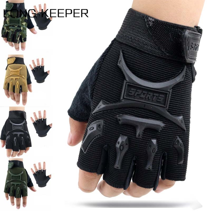 Kids Boys Cycling Gloves Children Camo Tactical Half Finger Mitten Outdoor Sports Riding Breathable Non-slip Training Eldiven(China)