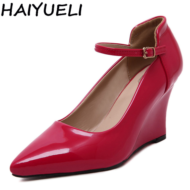 HAIYUELI Preppy Style Women Pumps Gold Silver Red Wedding Dress Shoe Mary Jane Wedge High Heel Concise Shoes Pricess Woman 34-40