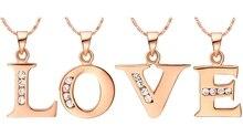 Hot Letter A B C D E F G H I J K L M N O P Q R S T U V W X Y Z Crystal Alphabet Jewelry 18 k Rose Gold Plated Pendant Necklace