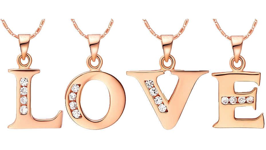 Hot Letter A B C D E F G H I J K L M N O P Q R S T U V W X Y Z Crystal Alphabet Jewelry 18 k Rose Gold Colou Pendant Necklace