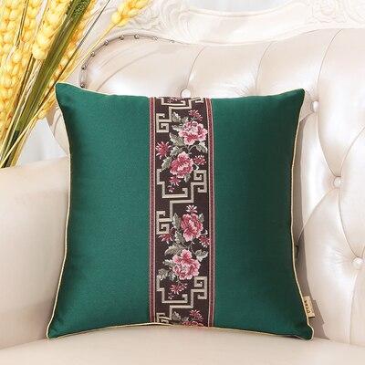 Последние европейские декоративные Чехлы для дивана, кресла, спинки, поясничная Подушка, роскошный Шелковый атласный чехол для подушки - Цвет: Зеленый