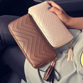 RU&BR 2016 New Fashion Leather Women Wallet 1 Fold Tassel Luxury Brand Casual PU Wallet Long Section Ladies Clutch Coin Purse