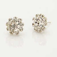 Silver Plated Full Rhinestone Crystal Shine Flower Stud Earrings Gift For Women Bridal Bridesmaid Jewelry Brincos