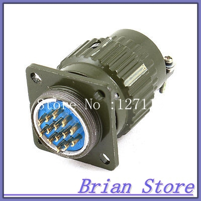 Aviation Plug Male Panel Mounted Metal Connector 28mm Thread Dia 14-Pin AC 250V ac 250v 15a 25mm dustproof metal male female aviation plug connector joint free shipping