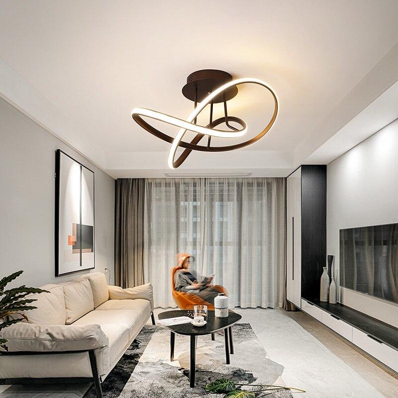 Hot plafond moderne à LEDs lumières pour salon chambre bureau salle blanc/noir/café fini maison déco plafonnier 90-260V