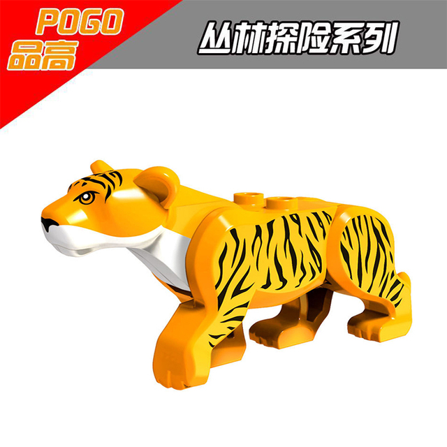 PG Tiger Single Sale Forest Animals Figures 3D Model Puzzle Assemble Building Blocks Compatible With Legoth Duplo For Kids Gift